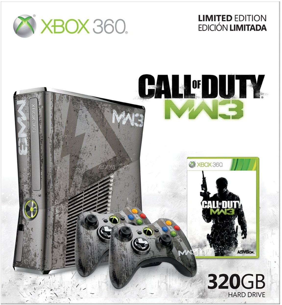 360: CONSOLE - SLIM - MODERN WARFARE 3 EDITION - INCL: 1 MW3 CTRL; HOOKUPS; 320GB HDD; MW3 GAME AND GUIDE (USED)
